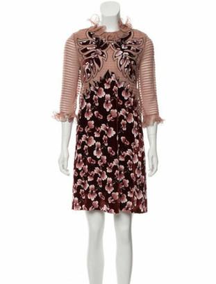 Bottega Veneta Velvet-Accented Silk Dress w/ Tags mauve