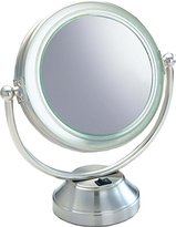 "Floxite Fluorescent CooliteTM Lighted 8 1/2"" Double Sided Swivel Vanity Cosmetic Mirror 8x plus 1x in Satin Nickel"
