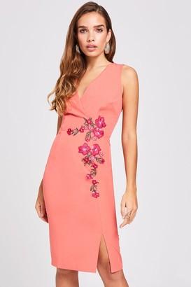 Little Mistress Casey Grapefruit Embroidered Dress