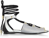 Vionnet Pearl Grey Stripe Leather & Orchid White/Black Elaphe Lace Up Flat Sandal