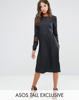Asos Tall Long Sleeve Midi Dress With Lace Insert