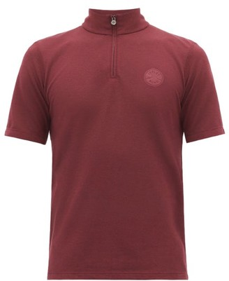Iffley Road Sidmouth Half-zip Pique T-shirt - Mens - Burgundy