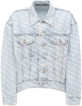 Alexander Wang All Over Flocked Logo Denim Jacket