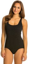 Penbrooke Krinkle Solid Square Neck Chlorine Resistant One Piece Swimsuit 8136100