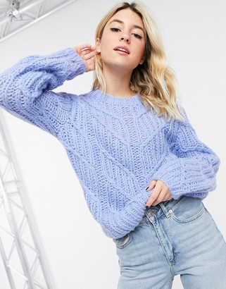 Object hand-knitted wool cable knit jumper in blue