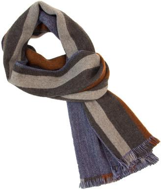 Grey Multi Striped Woven Wool Scarf