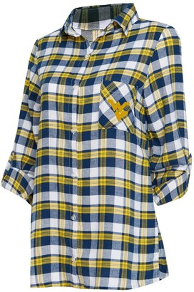 Women's Concepts Sport Navy/Gold West Virginia Mountaineers Piedmont Flannel Long Sleeve Button-Up Nightshirt