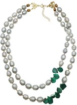 Gray Freshwater Pearls With Malachite Double Strands Necklace
