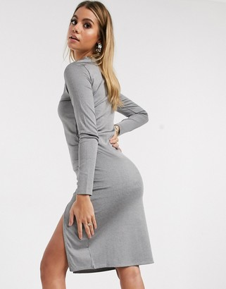 Ivyrevel ribbed midi dress with side split in grey
