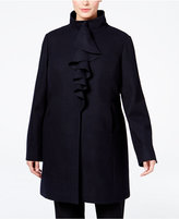 T Tahari Plus Size Ruffled Walker Coat