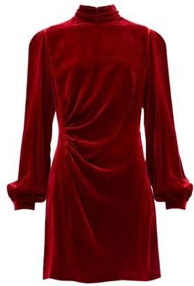Raquel Diniz Elle Balloon Sleeve Velvet Dress - Womens - Red