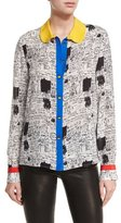 Alice + Olivia Gary Printed Colorblock Shirt