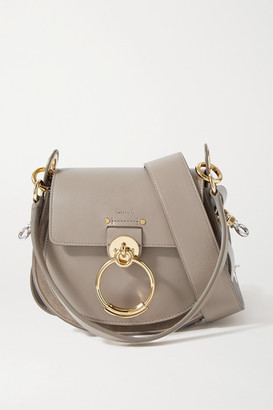 Chloé Tess Small Leather And Suede Shoulder Bag - Gray
