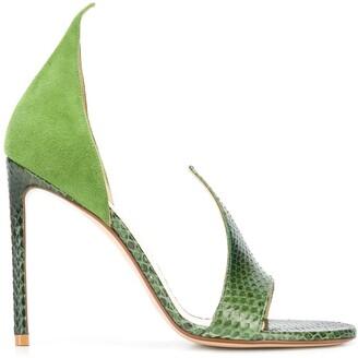 Francesco Russo Asymmetric Snakeskin Effect Sandals