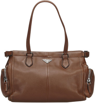 Prada Brown Leather Tote Bag