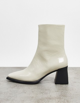 Vagabond Hedda leather flared heel ankle boots in white patent