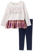 Lucky Brand Plaid Tunic & Jegging Set (Little Girls)