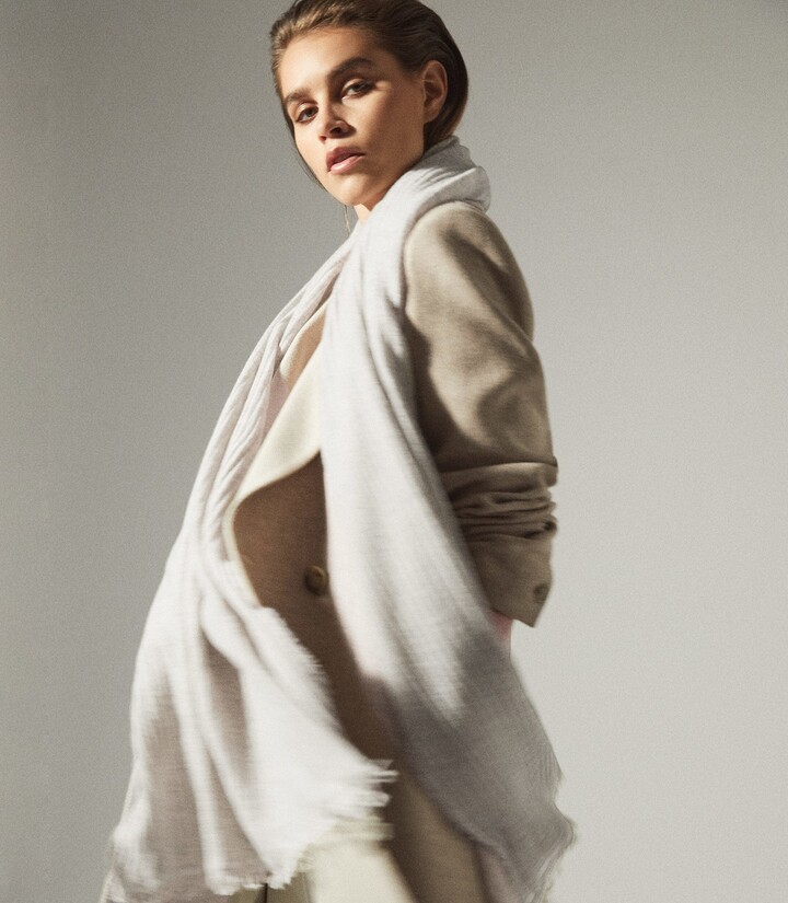 Thumbnail for your product : Reiss Victoria - Cashmere Blend Scarf in Grey
