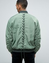 Asos Bomber With Lace Up Back In Khaki