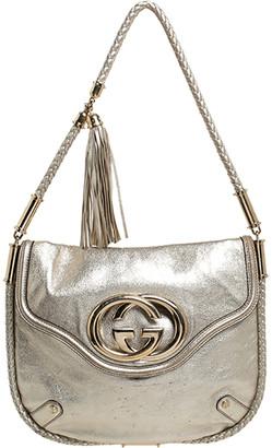 Gucci Metallic Gold Leather Medium Britt Tassel Hobo