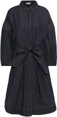 Brunello Cucinelli Belted Bead-embellished Denim Shirt Dress
