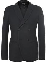 Giorgio Armani Blue Ginza Slim-Fit Double-Breasted Hopsack Blazer