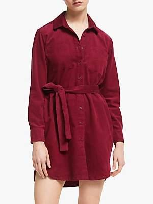 People Tree Franca Cord Shirt Dress, Red
