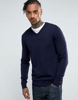Armani Jeans V Neck Logo Sweater Navy