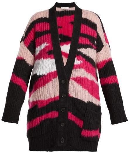 Valentino Tiger Stripe Mohair Blend Cardigan - Womens - Pink Multi