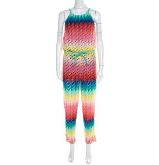 M Missoni Missoni Mare Rainbow Patterned Perforated Knit Beach Cover Up Jumpsuit S