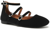 Qupid Black Triple Buckle Ankle-Strap Sparks Flat