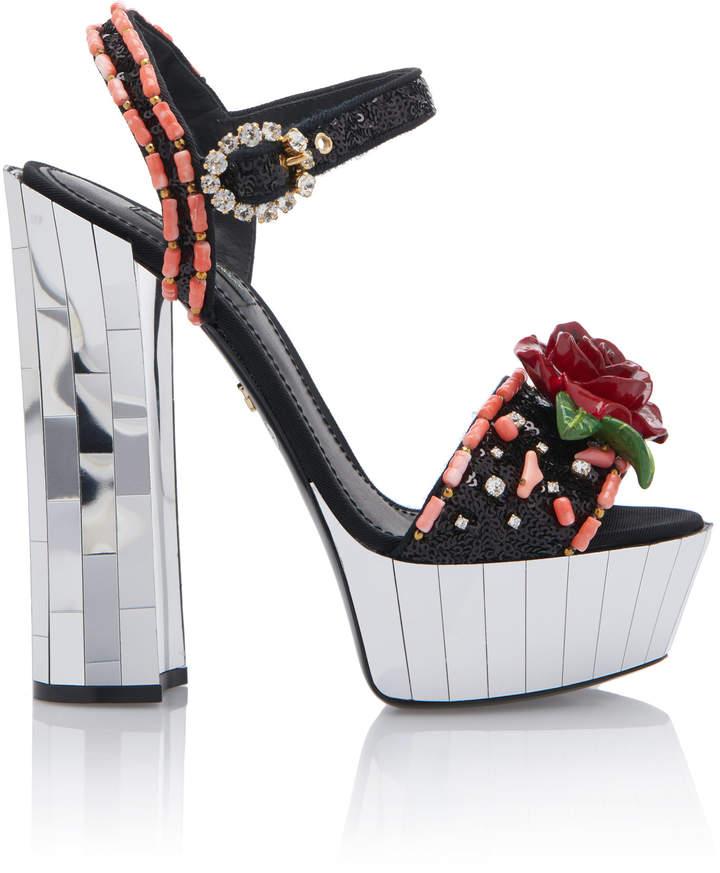 Dolce & Gabbana Floral Embellished Canvas Platform Sandals