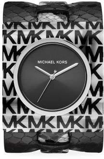 Michael Kors Willa Logo Acetate & Python-Embossed Leather Strap Watch