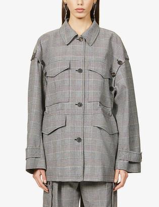 Wing tartan check-print woven jacket
