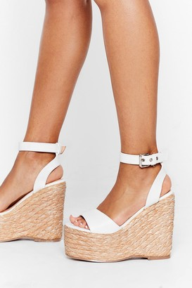 Nasty Gal Womens Every Step We Take Woven Wedge Sandals - White