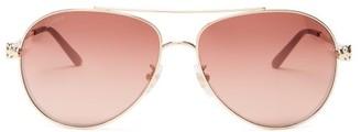 Cartier Eyewear - Panthere Aviator Metal Sunglasses - Womens - Red Gold