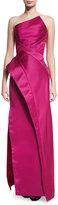 Zac Posen Strapless Asymmetric Satin Column Gown, Pink