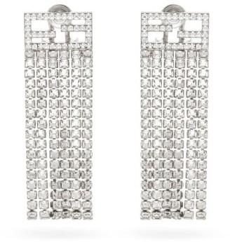 Fendi Ff-logo Crystal-fringe Earrings - Silver