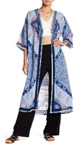 Green Dragon Print Duster Cover-Up