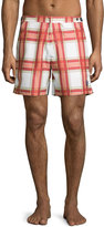 Robert Graham Rat Pack Plaid Swim Trunks, Red Ringer