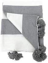 One Kings Lane Vintage White & Gray Cotton Pom-Pom Blanket