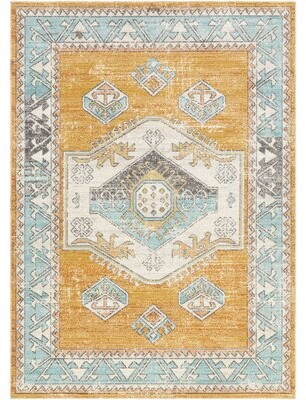 "World Menagerie Power Loom Saffron/Rust Indoor/Outdoor Rug Rug Size: Rectangle 8'10"" x 12'"