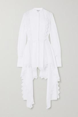 Alexander McQueen Asymmetric Lace-trimmed Cotton-pique Blouse - White