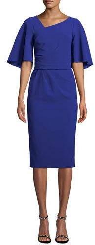 Theia Flutter-Sleeve Knee-Length Asymmetric Sheath Dress