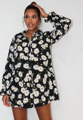 Missguided Black Floral Print Frill Cuff Shirt Dress