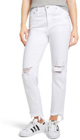AG Jeans The Phoebe High Waist Ripped Straight Leg Jeans (5 Year White Frayed)