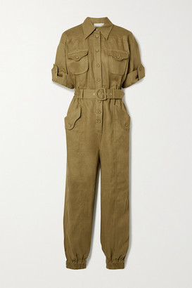 Zimmermann Super Eight Belted Linen Jumpsuit - Army green