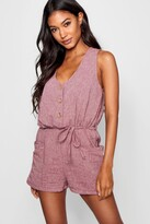 boohoo Horn Button Down Pocket Playsuit