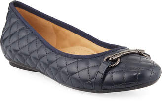 Neiman Marcus Sean Quilted Ballet Flats with Horsebit Ornament