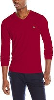 Lacoste Men's Long Sleeve Jersey Pima Regular Fit V Neck T-Shirt